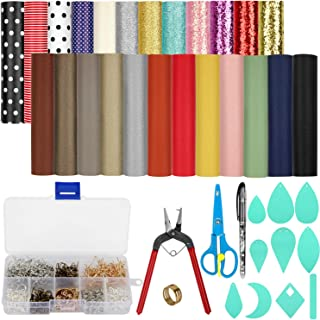24 Pcs Leather Earring Making Kit A5 Size Faux Leather Fabric Sheet Include 4 Style Faux Leather Sheet,Templates and Complete Tools for Earrings Craft DIY Making Supplies