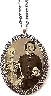 Edgar Allan Poe Necklace Pendant Goth Skeleton Skull Macabre Altered Art Literature