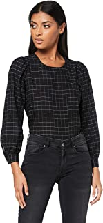 French Connection Women's Check ME Out Longsleeve Shirt, Black/Off White