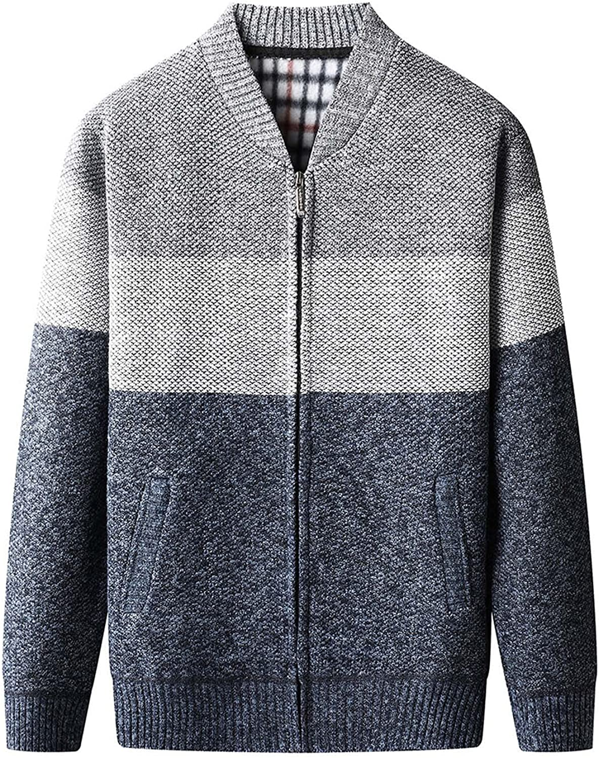 FORUU Men's Sweater Jacket Fall Winter Overcoat Color Matching Stand-up Collar Wool Coat Casual Plus Size Knit Sweater