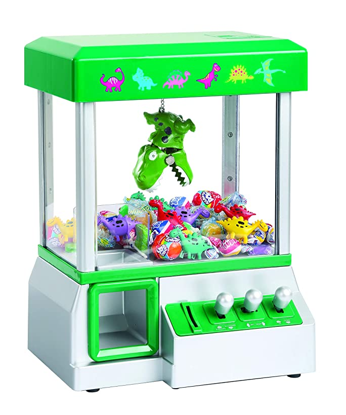 Dinosaur Grabber Claw Machine Toy | Electronic Arcade-Style Game for Kids | Fun Carnival-Style Music | Includes (8) Mini Plastic Dinos | 13.5 x 10 x 7.5 inches