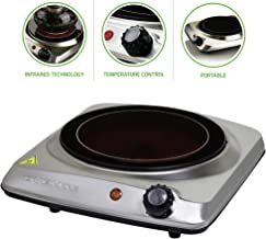 Ovente Electric Glass Infrared Burner 7 Inch Single Hot Plate with Temperature Control,..