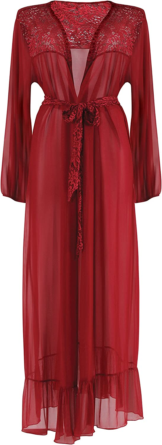 Fantasy Lingerie Harlow Dressing Gown Wine Red