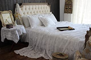 Hughapy Vintage American Cotton Bedding Thread Imitation of Hand Crochet Hook Flower Bed Cover White Lace Bed Spread Blanket Pillowcases Queen 3-Piece