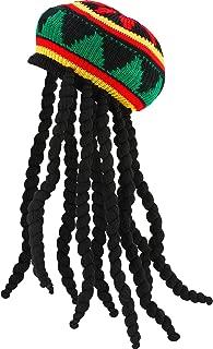 Rasta Hat with Black Dreadlocks Wig Rasta Wig with Cap for Costume Accessory