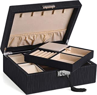 SONGMICS 2-Layer Jewelry Box, Lockable Jewelry Organizer, with Necklaces Hooks, Watch Cubes, Covered Compartment, Removable Divider, Thickened Frame, Black UJBC235BK