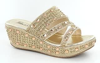 Women's Bling Sparkle Slide Wedge Sandal Gold/Silver