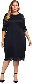 Women's Stretch Lined Plus Size Lace Shift Dress Knee Length with Scalloped Hem and Cuff