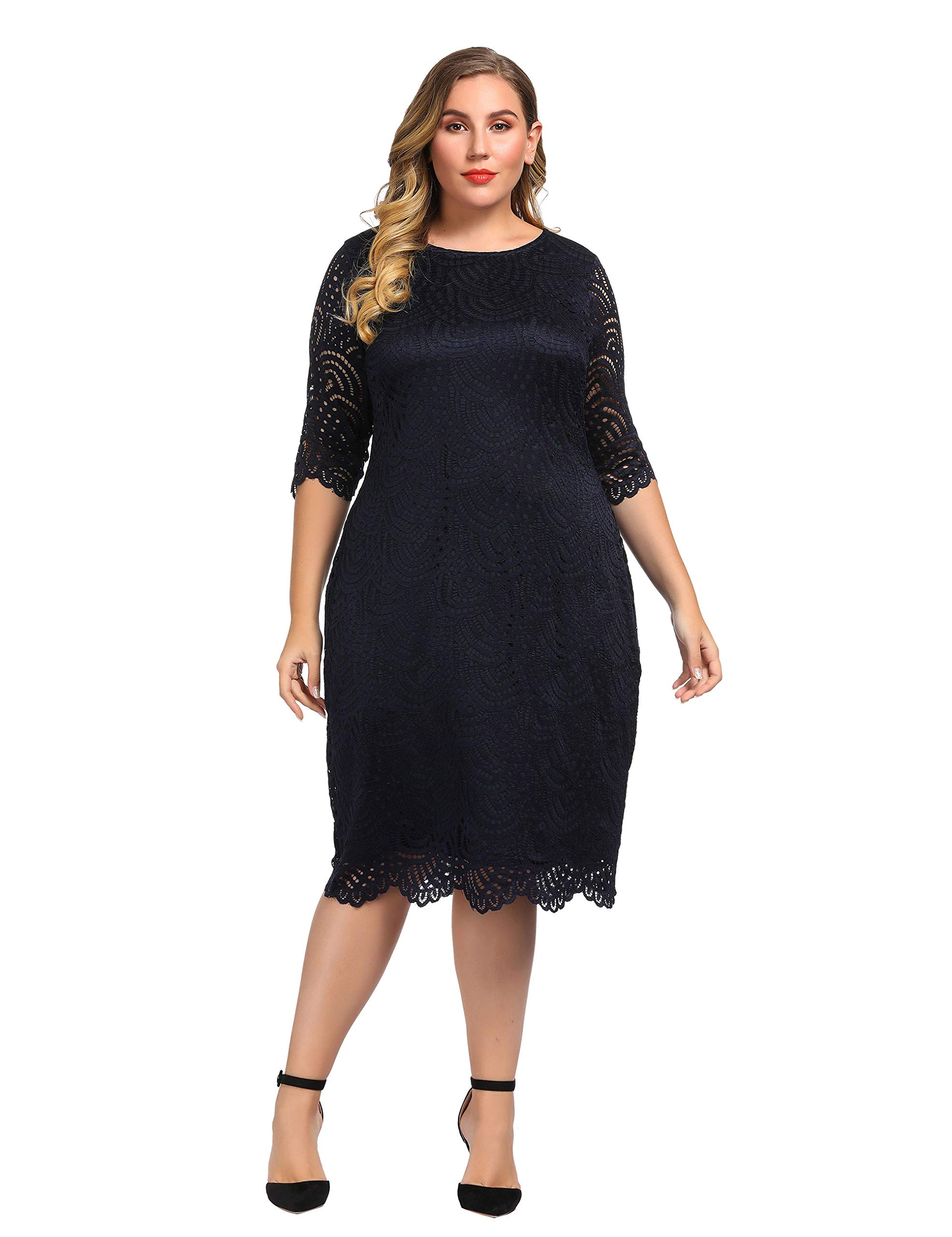 Plus Size Dresses - Women's Plus Size Solid V Neck Knee Length 3/4 Sleeve Hi Lo True Wrap Dress