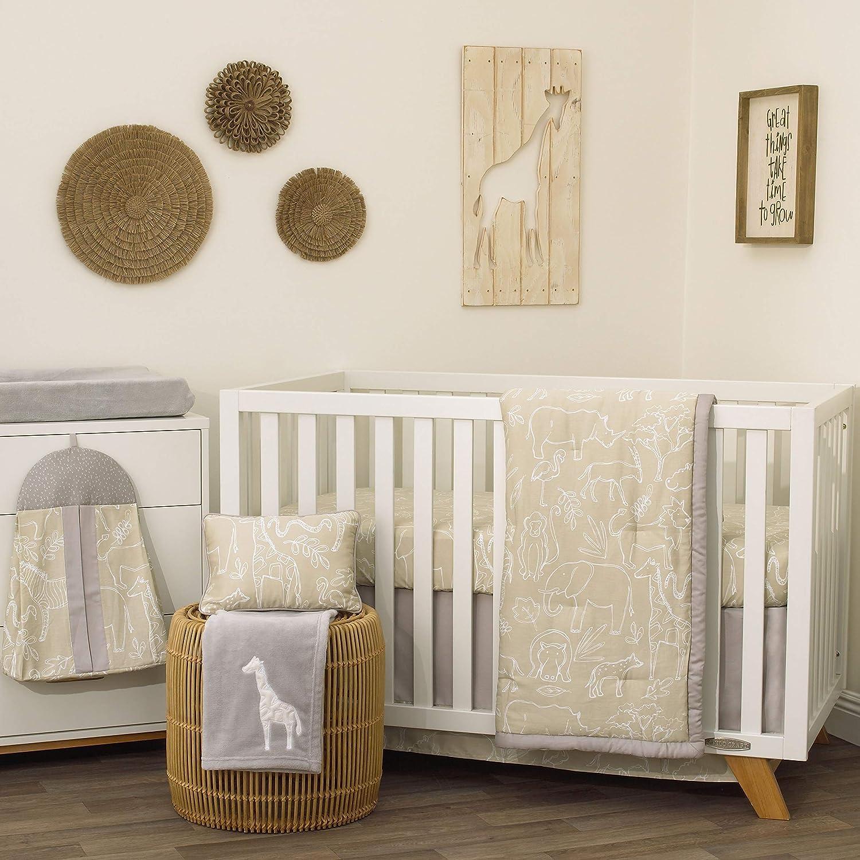 NoJo Dreamer Modern Safari 8 Piece Nursery Crib Bedding Set, Tan Grey