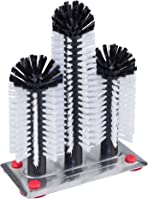 Professional Glass Brush with 3 Columns () – 18/24/18 cm with Large Aluminium Glass Suction Plate – Cleaning Brush – Washing Up Brush