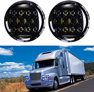7 Inch LED Round Headlight High Low Double Beam DRL 6000K Cool White for Freightliner Century Class - 2 Pcs