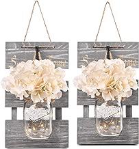 Besuerte Rustic Lighted Mason Jars forFarmhouse,Home Decor,Living Room, Bathroom, Hanging VintageWall Sconce (Set of 2),Gray
