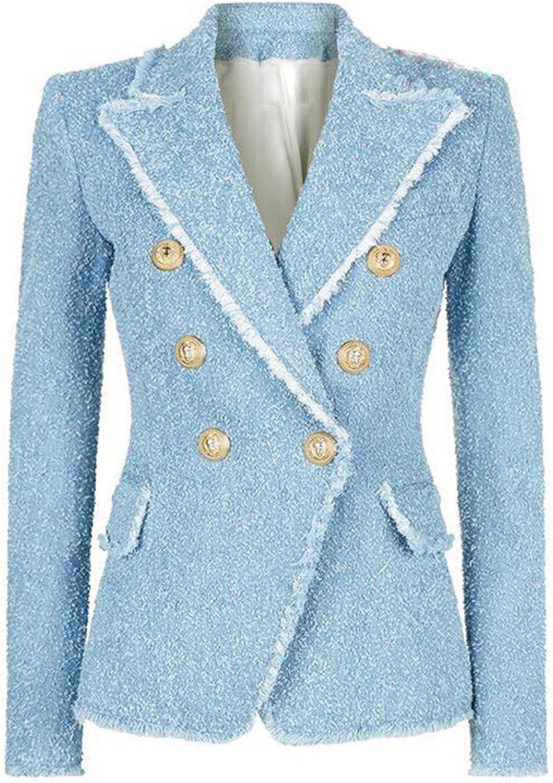 Designer Blazer Women's Double Breasted Lion Buttons Tassel Fringe Tweed Blazer Jacket