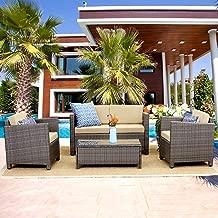 Wisteria Lane Outdoor Patio Furniture Set,5 Piece Conversation Set Wicker Sectional Sofa Loveseat Chair Gray Wicker,Tan Cushions