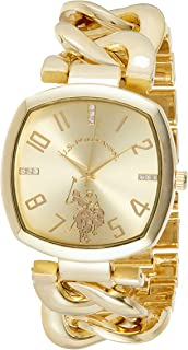 U.S. Polo Assn. Women's Quartz Watch, Analog Display and Gold Plated Strap USC40250