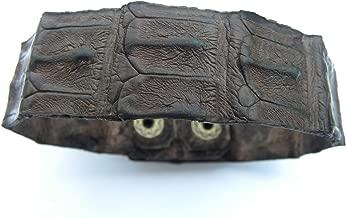 Genuine dark brown Alligator leather full horn 3/4 inch wide cuff bracelet wristband customize to wrist sizes nice gift motorcycle biker
