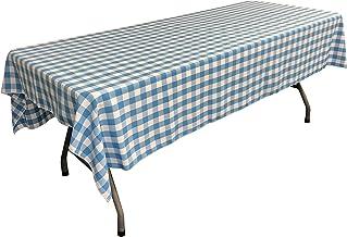 مفرش طاولة LA Linen مستطيل الشكل مقاس 152.4 سم × 274.4 سم، فيروزي وأبيض