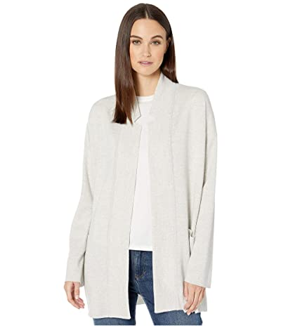 Eileen Fisher Merino Blend Notch Collar Cardigan (Pearl) Women