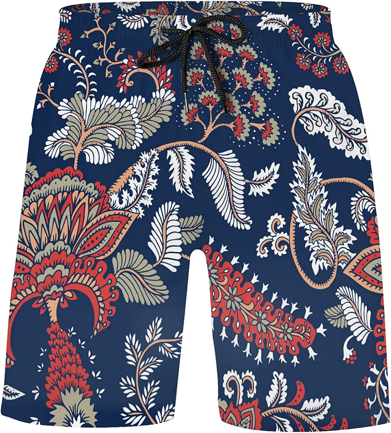 Fantasy Flowers Paisley Floral On Blue Bathing Suits Athletic Shorts Swim Trunks for