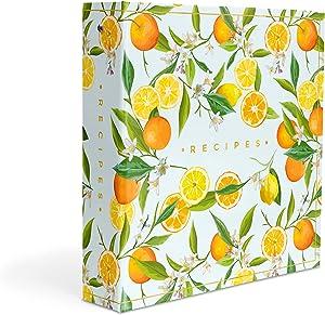 Recipe Binder 8.5x11 3 Ring Kit - Make Your Own Cookbook With Recipe Cards or Printed Pages - Oranges & Lemons Kitchen Decor (Oranges & Lemons)