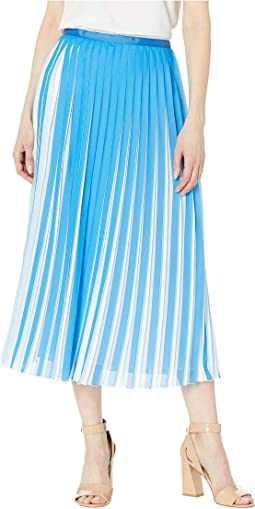Two-Tone Pleated Midi Skirt