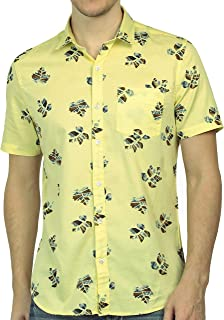 Tusok Men Short Sleeve Shirt Casual Hawaiian Flower Floral Party Beach Vacation Aloha Printed Yellow Autumn