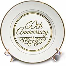 3dRose cp_154502_1 60th Gold Text for Celebrating Wedding Anniversaries 60 Years Married Together Porcelain Plate, 8-Inch