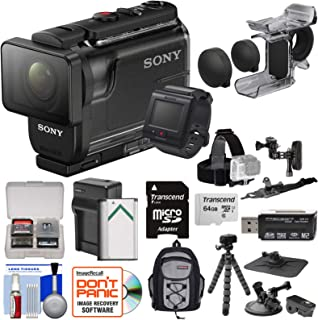 Sony Action Cam HDR-AS50R Wi-Fi HD Video Camera Camcorder & Remote + Finger Grip + Action Mounts + 64GB Card + Battery/Charger + Backpack + Tripod Kit