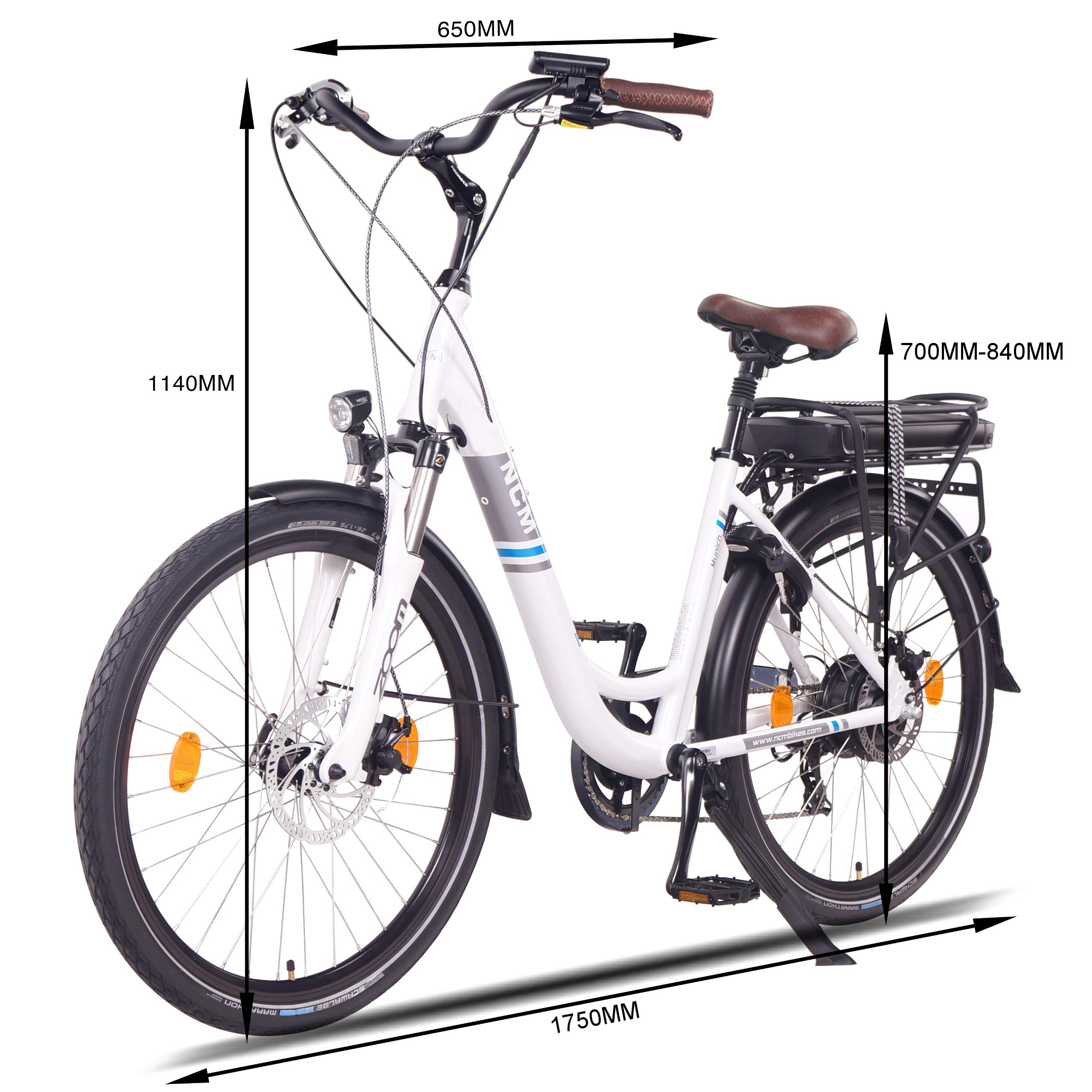 NCM Munich Bicicleta eléctrica Urbana, Bici de Paseo, 250W, Batería 36V 13Ah 468Wh, (26
