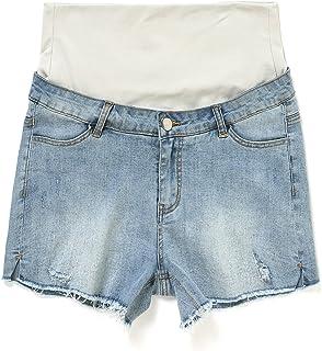 9cf33a85ab61a JOYNCLEON Maternity Shorts Pants Denim Fold Over Waistband Pregnancy Short  Hole Jeans for Pregnant Women