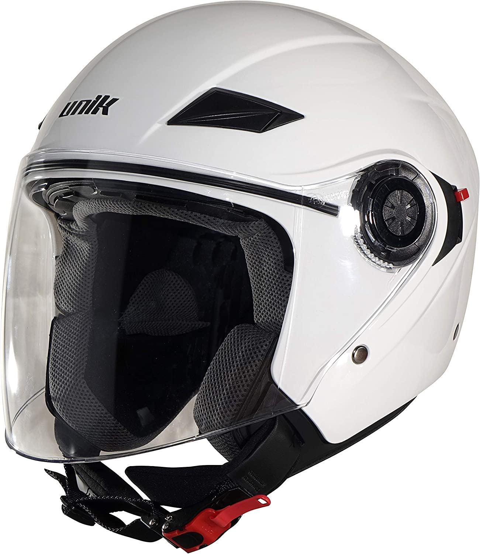 Unik Men CJ-03 Helmet Jet with Solar Glasses, Colour- SizeHelmetWhite, Medium