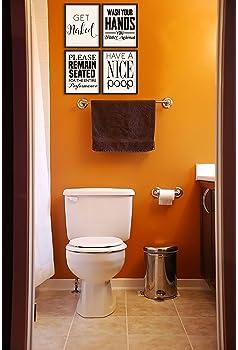 Set of 6 Funny Bathroom Quotes Posters 8 x 10 Inches Bathroom Art Prints