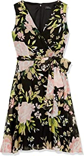 Tahari by Arthur S. Levine womens SLEEVELESS FIT AND CREPE CHIFFON DRESS WITH TIE AT WAIST Dress