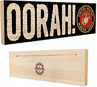 Oorah! Officially Licensed by The United States Marine Corps - 4 inch x 12 inch - Solid Wood Sign