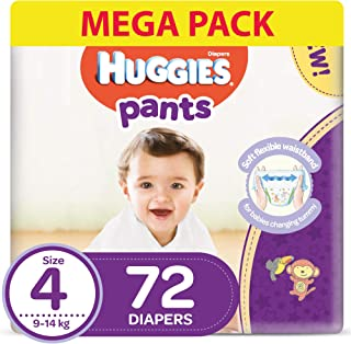 Huggies Active Baby  Pants - Size 4,  9-14 kg, 72 Diapers Pants