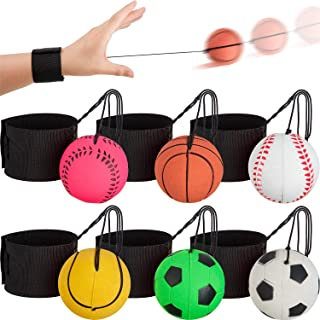 Gejoy 6 Pieces Sports Wrist Rebound Ball Sports Wrist Balls Wrist Bouncy Balls Basketball, Baseball, Soccer and Tennis Bal...