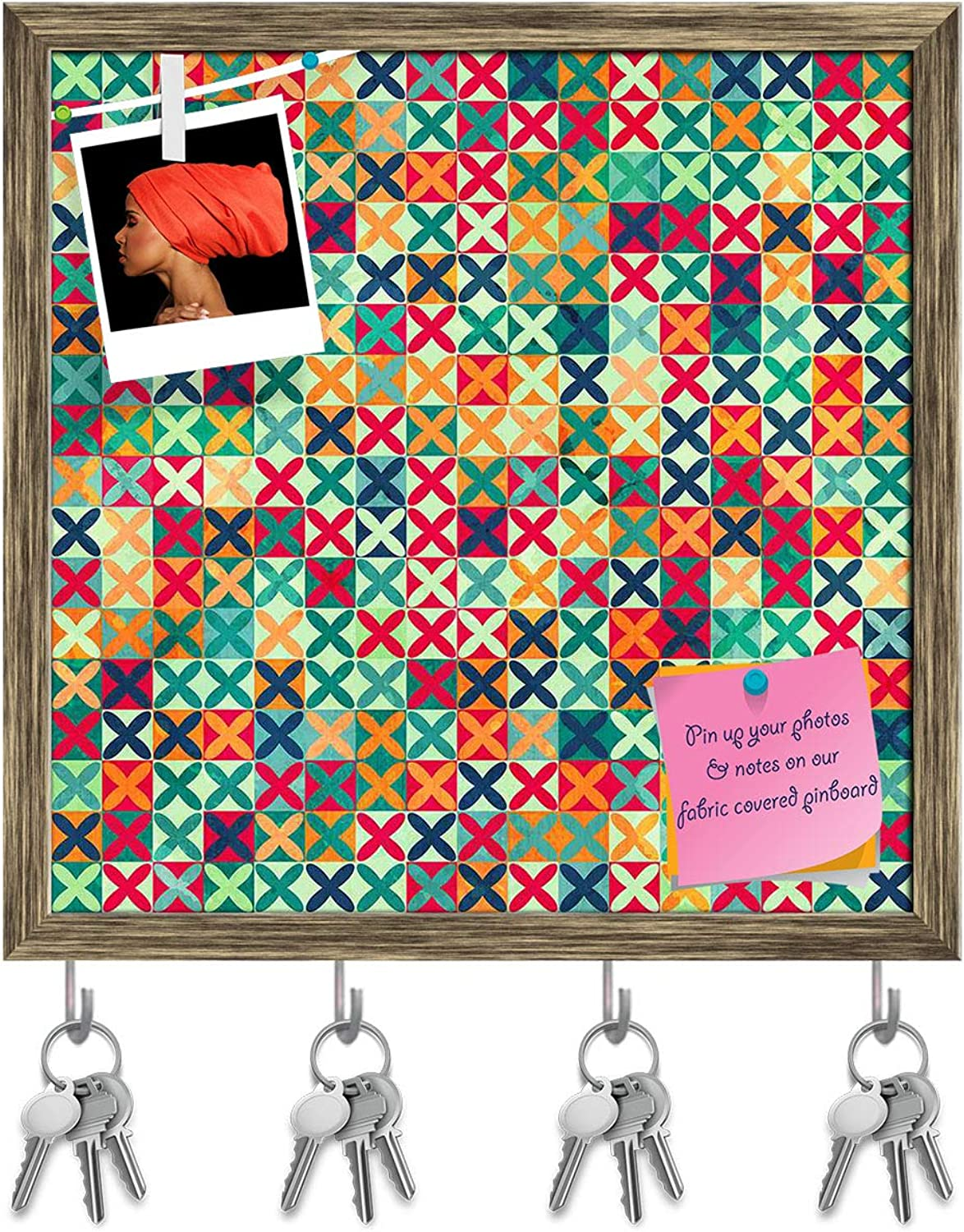 Artzfolio colord Crosses Key Holder Hooks   Notice Pin Board   Antique golden Frame 20 X 20Inch