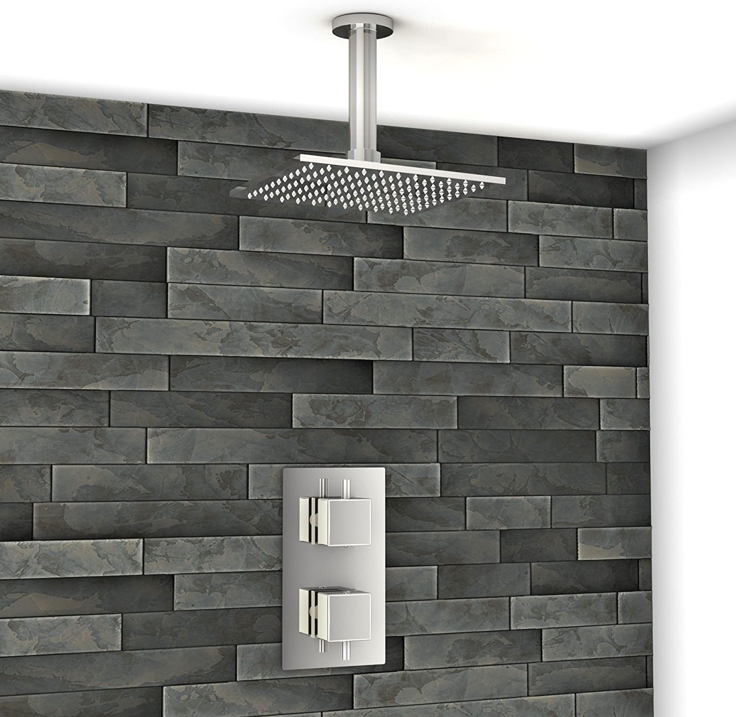 200mm Square Ceiling Shower Head Set with Concealed Twin Thermostatic Shower Valve