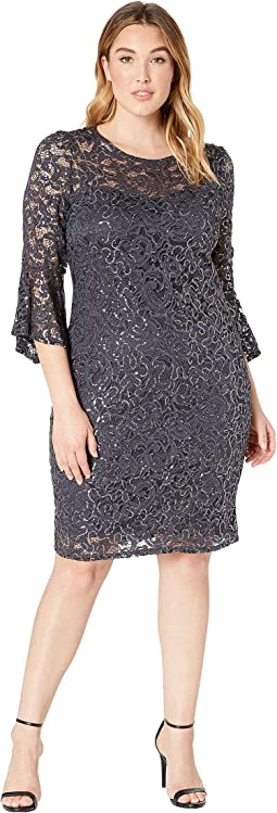 Plus Size Stretch Sequin Lace Bell Sleeve Dress