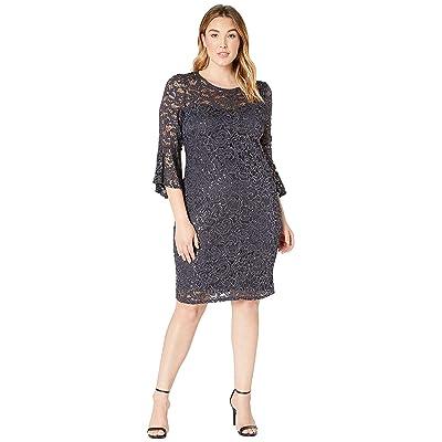 MARINA Plus Size Stretch Sequin Lace Bell Sleeve Dress (Gunmetal) Women
