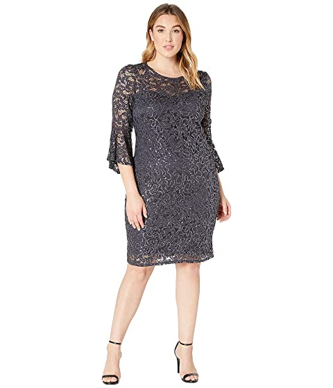 MARINA Plus Size Stretch Sequin Lace Bell Sleeve Dress, Gunmetal