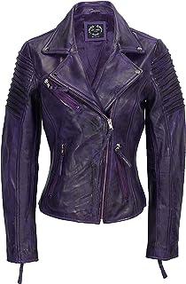 Xposed Chaqueta de motociclista para mujer, estilo vintage, ajustada, suave, de cuero auténtico, talla UK 6-24