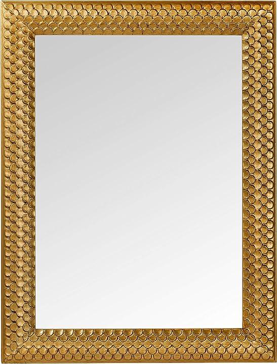 Specchio da parete con cornice in legno finitura oro antico. misura esterna cm. 65x85. made in italy. mo.wa B07LH5VYPK