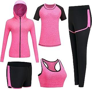 BOTRE Damen Traingsanzug Yoga Kleidung Anzug 5er-Set Sportanzüge Jogginganzug Gym Fitness Kleidung Laufbekleidung Sportswear Sport Yoga Outfit Damen BH Leggings Set