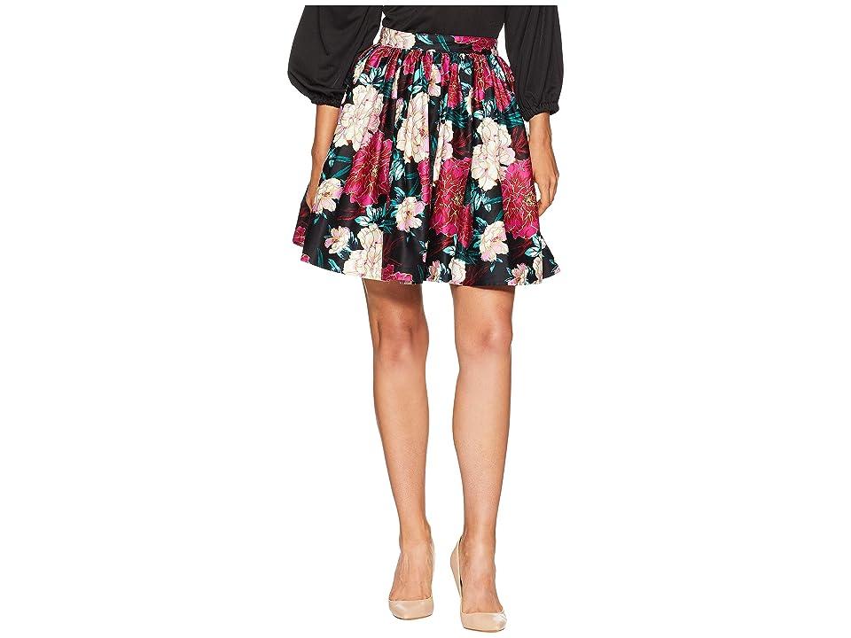 Unique Vintage 1950s Style Lupone Skater Skirt (Black/Pink Carnation Print) Women