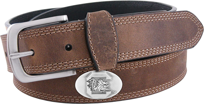 NCAA South Carolina Fighting Gamecocks Light Crazy Horse Leather Concho Belt