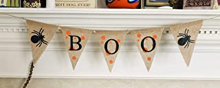 Halloween Party Decoration Boo Banner - Ready to Hang Burlap Bunting - Hanging Spider Burlap Garland Decor - Trick or Treat Halloween Decorations by Jolly Jon ®