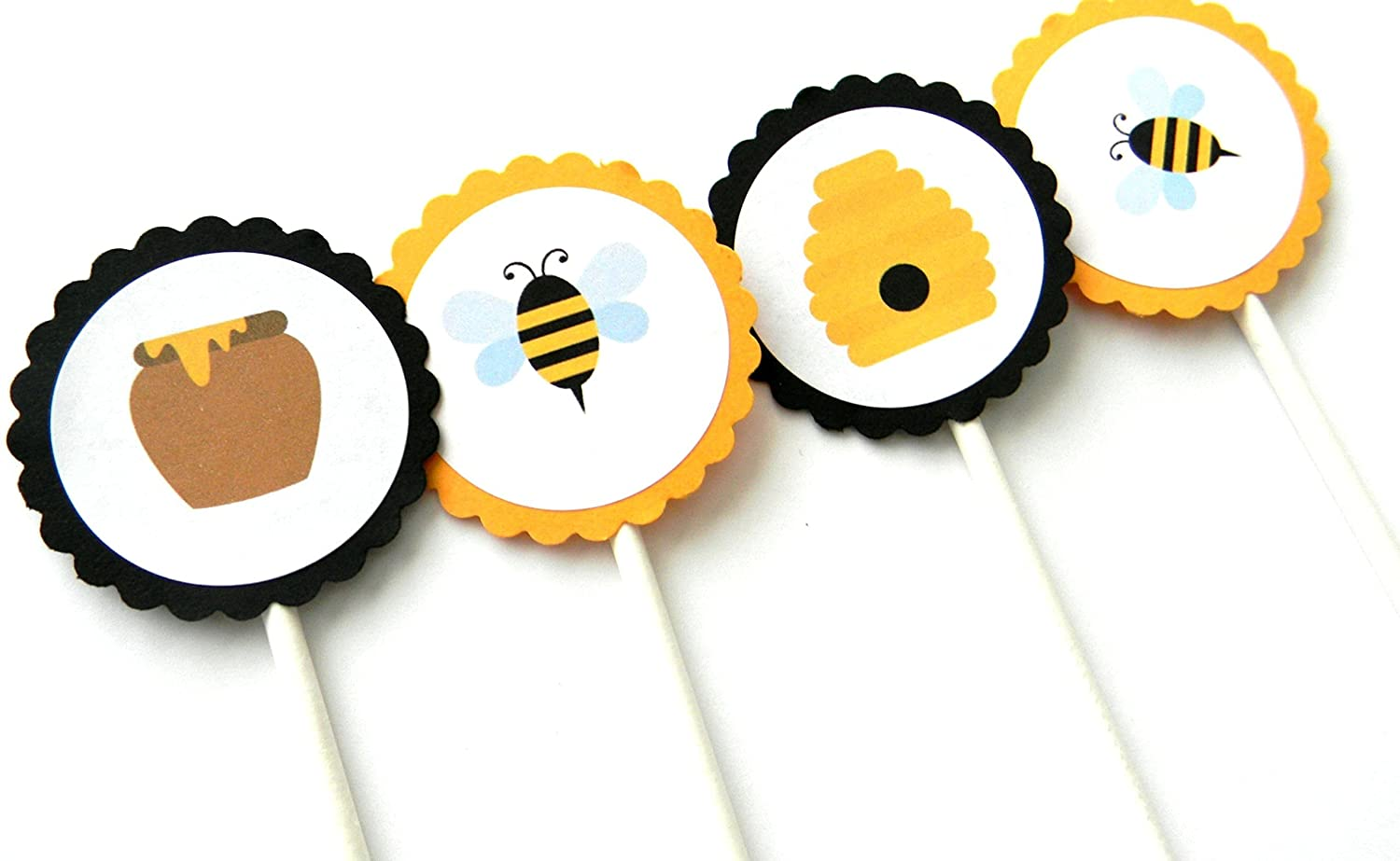 Bee Cupcake Toppers - Austin Mall Set of 12 Outlet ☆ Free Shipping