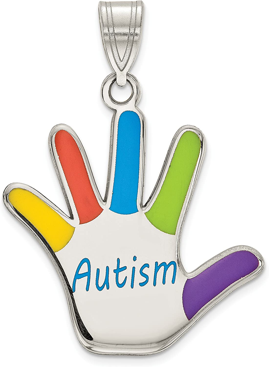 Sterling Silver At the price of surprise Rhod-plate Enamel Pendant Autism unisex Handprint
